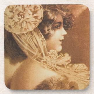 Vintage Victorian Girl Illustration Beverage Coaster