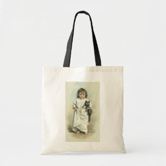 Vintage Victorian Girl in a Nightgown with Her Cat Budget Tote Bag