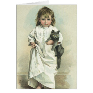 Vintage Victorian Girl in a Nightgown with Her Cat Card