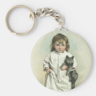 Vintage Victorian Girl in a Nightgown with Her Cat Keychain