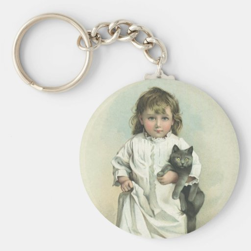Vintage Victorian Girl in a Nightgown with Her Cat Key Chain