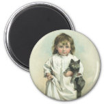 Vintage Victorian Girl in a Nightgown with Her Cat Refrigerator Magnet