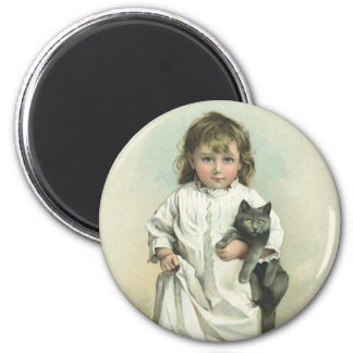 Vintage Victorian Girl in a Nightgown with Her Cat Magnet