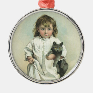 Vintage Victorian Girl in a Nightgown with Her Cat Metal Ornament