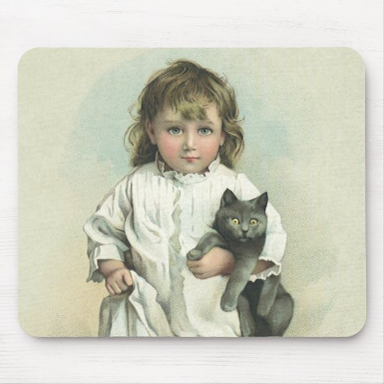 Vintage Victorian Girl in a Nightgown with Her Cat Mouse Pad