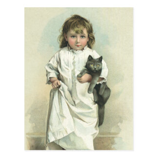 Vintage Victorian Girl in a Nightgown with Her Cat Postcard