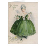 Vintage Victorian Girl In Green St Patrick's Day C Greeting Card