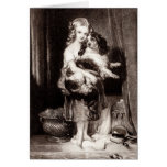 Vintage Victorian Girl King Charles Spaniel Dog Stationery Note Card
