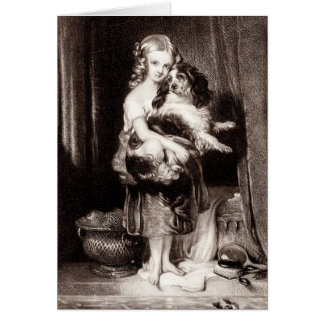 Vintage Victorian Girl King Charles Spaniel Dog Card