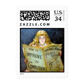Vintage Victorian Girl Pears Soap advert -Postage Stamp