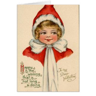 Vintage Victorian Girl Valentine's Day Card