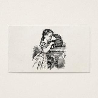 Vintage Victorian Girl With Basket Business Card