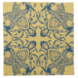 Vintage Victorian Gold and Blue Background Pattern Cloth Napkin