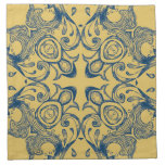 Vintage Victorian Gold and Blue Background Pattern Printed Napkin