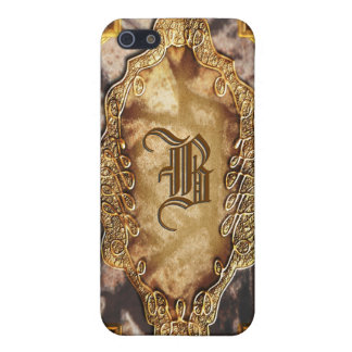 Vintage victorian gold pink monogram cover for iPhone 5