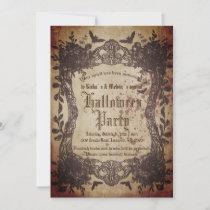 Vintage Victorian Gothic Creepy Halloween Party Invitation