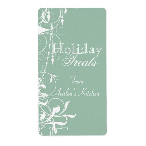 Vintage Victorian Green Holiday Baking Label
