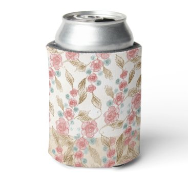 Bride Themed Vintage Victorian Handdrawn Pink Roses Blue Cream Can Cooler