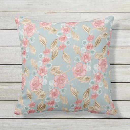 Vintage Victorian Handdrawn Pink Roses on Blue Outdoor Pillow