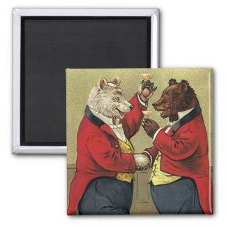 Vintage Victorian Happy, Gay, Dancing Bears 2 Inch Square Magnet