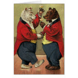Vintage Victorian Happy, Gay, Dancing Bears Stationery Note Card