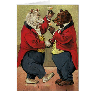 Vintage Victorian Happy, Gay, Dancing Bears Card