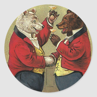 Vintage Victorian Happy, Gay, Dancing Bears Classic Round Sticker