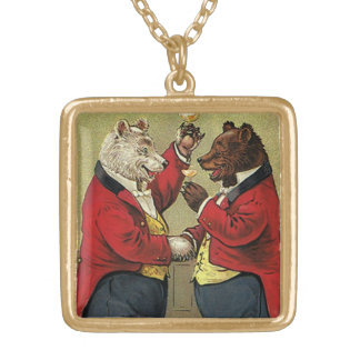 Vintage Victorian Happy, Gay, Dancing Bears Gold Plated Necklace
