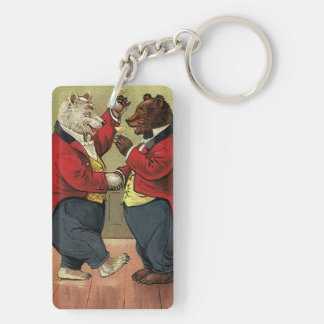 Vintage Victorian Happy, Gay, Dancing Bears Double-Sided Rectangular Acrylic Keychain