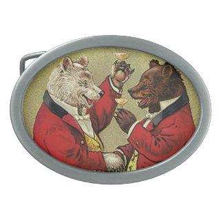 Vintage Victorian Happy, Gay, Dancing Bears Oval Belt Buckle
