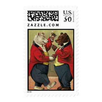 Vintage Victorian Happy, Gay, Dancing Bears Postage