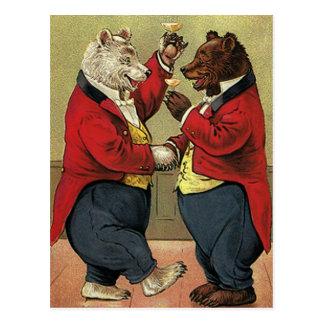 Vintage Victorian Happy, Gay, Dancing Bears Postcard
