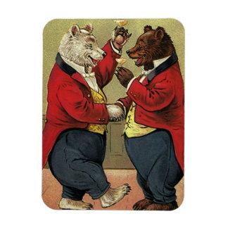 Vintage Victorian Happy, Gay, Dancing Bears Rectangular Photo Magnet