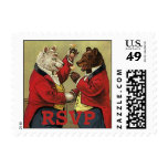 Vintage Victorian Happy, Gay, Dancing Bears RSVP Postage Stamps
