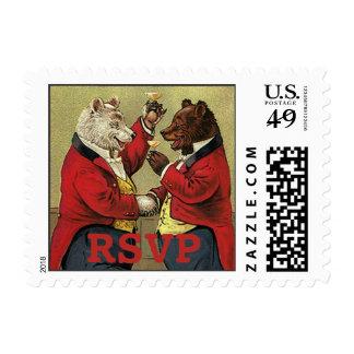 Vintage Victorian Happy, Gay, Dancing Bears RSVP Stamps