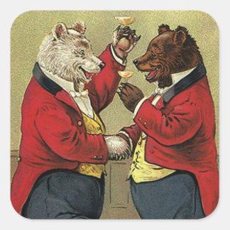 Vintage Victorian Happy, Gay, Dancing Bears Square Sticker