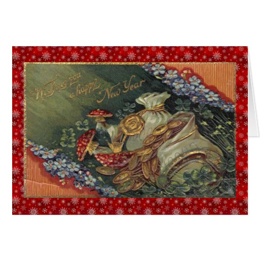 Vintage Victorian Happy New Year Greeting Cards