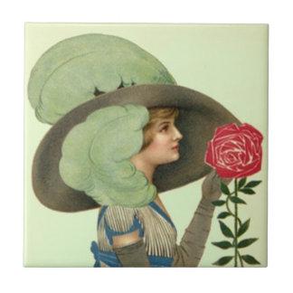 Vintage Victorian Hat Rose Derby Lgt Mint Tile