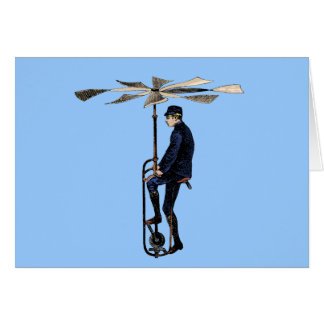 Vintage Victorian Helicopter Flying Contraption Greeting Cards