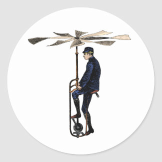 Vintage Victorian Helicopter Flying Contraption Classic Round Sticker