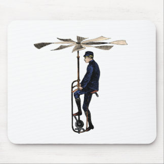 Vintage Victorian Helicopter Flying Contraption Mouse Pads
