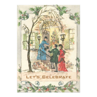 Vintage Victorian Holiday Christmas Party Custom Invitations