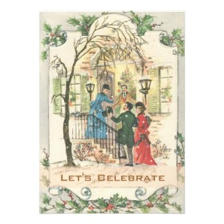 Vintage Victorian Holiday Christmas Party Custom Invitations