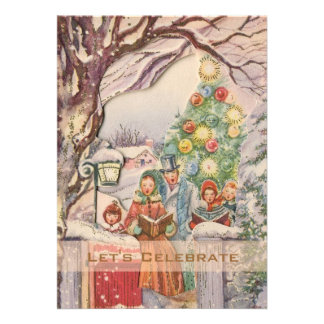 Vintage Victorian Holiday Christmas Party Personalized Invites