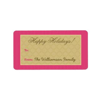 Vintage Victorian Holiday Gift Tag (fuchsia) Custom Address Labels