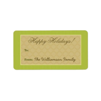 Vintage Victorian Holiday Gift Tag (lime green) Personalized Address Label