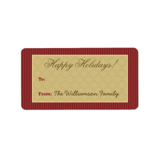 Vintage Victorian Holiday Gift Tag (maroon) Personalized Address Label