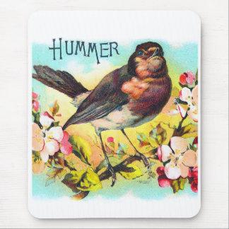Vintage Victorian Hummer Bird Illustration Mouse Pad