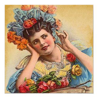 "Vintage Victorian In Roses Invitation Invites 5.25"" Square Invitation Card"