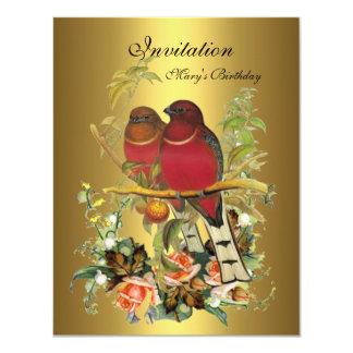 Vintage Victorian Invitation flowers Birds